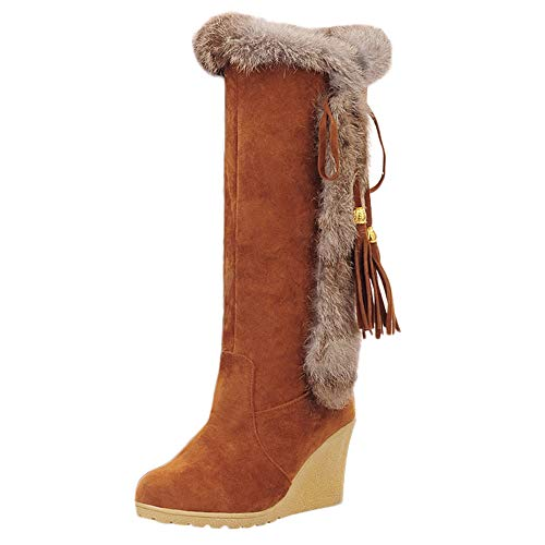 HYIRI Leisure Tassel Increase Shoes,Women's Round-Toe Keep Warm Long Tube Snow Boots Brown