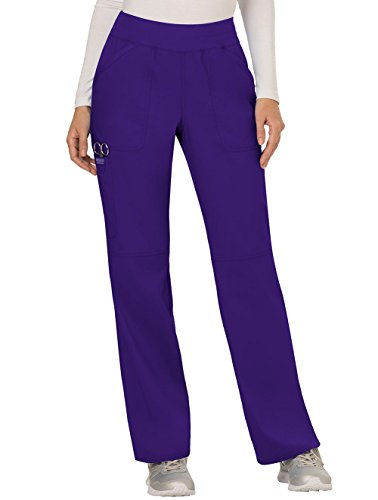 Cherokee Women's Mid Rise Straight Leg Pull-on Pant, Grape, Large