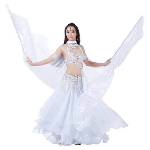 [Dance Fairy White Simulated Silk Belly Dance Isis Wings with Sticks] (White Fairy Costumes)