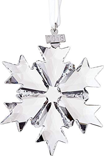 Swarovski Christmas Ornament 2018 Annual Edition Crystal Snowflake Ornament - Large Size - with White Ribbon, Beautiful Crystal Ornaments for Your Holiday Tree