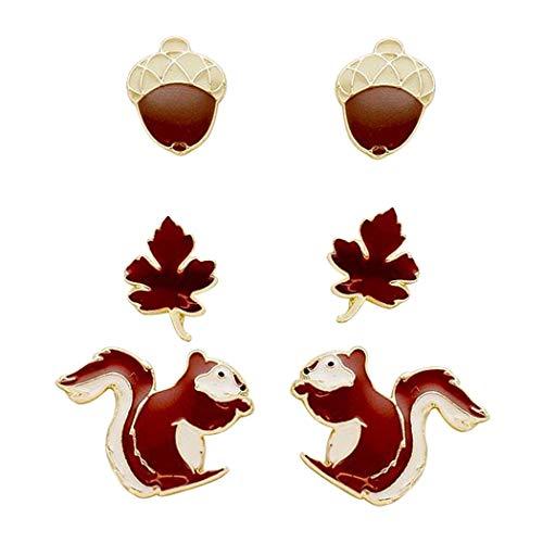 Rosemarie Collections Women's Set Of 3 Favorite Stud Earrings Squirrel Acorn Leaf Matching Bracelet Set