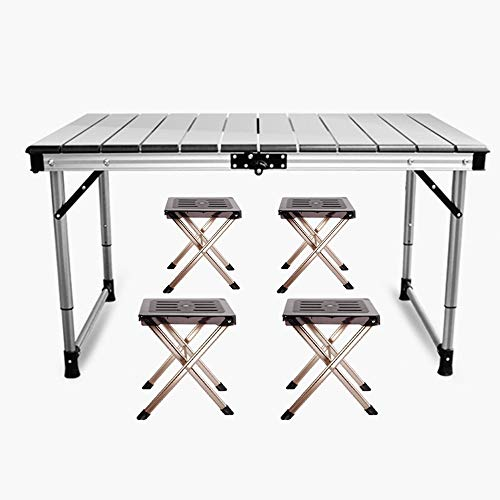Folding Aluminum Table – 5pc. Portable and Height Adjustable Table with Chairs, Water and Stain Proof, Perfect for Dining, Picnic, Cards or Kids Playing by Hakuta(Grey)