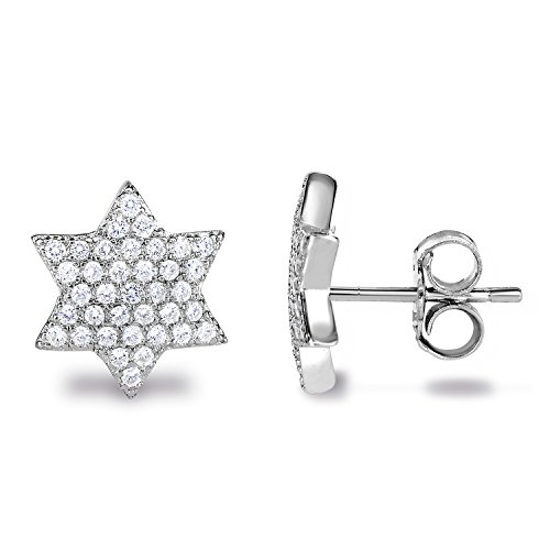 Spoil Cupid Rhodium Plated 925 Sterling Silver Cubic Zirconia Geometric 6-Point Hexagram Star of David Stud Earrings ()