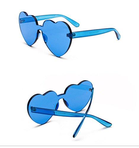 sin Tinte Transparente Mujer Vintage Amor Azul Corazón Sol Gafas Gafas Claro Gafas de Bastidor DESESHENME Reborde Sol de tqPvv0
