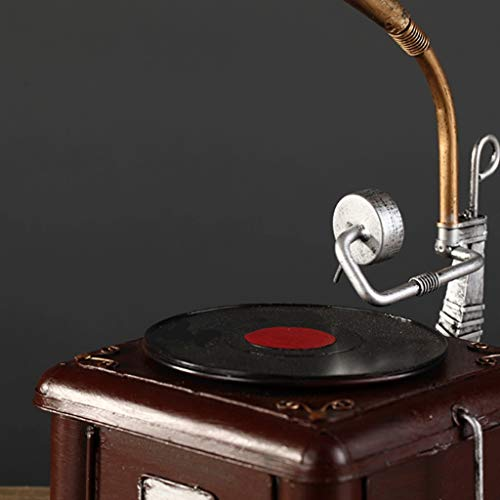 LPYMX Accesorios de Mesa Estatua Artesanía Metal Antiguo fonógrafo ...