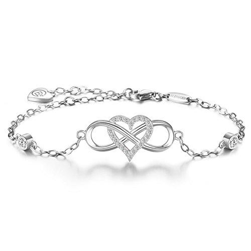 BlingGem Bracelet 'Together forever' 925 Sterling Silver White Gold Plated Infinity Heart Cubic Zirconia Bracelet-Fine Women's Jewelry