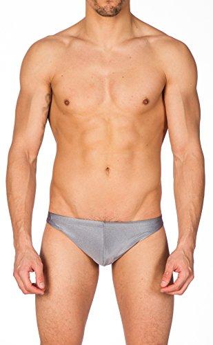 Contour Back Swimsuit - Gary Majdell Sport Men's Charcoal Greek Bikini Swimsuit with Contour Pouch Large