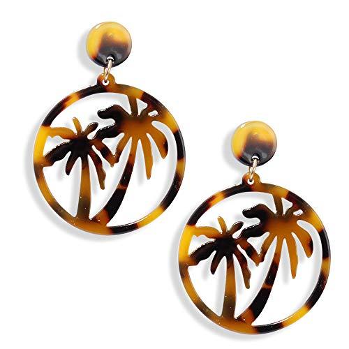 Acid Acrylic Resin Coconut Palm Tree Earrings Geometric Fatima Hamsa Hand Drop Earrings for Women Beach Earings Jewelry Gift (Coconut Tree)