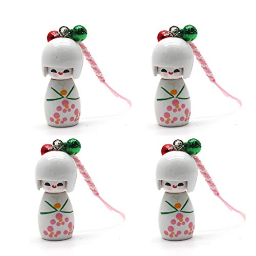 (LDEXIN 4pcs Cartoon Japanese Doll Nylon String Pendant Backpack Phone Charm Strap Key Chain Hanger for Cell Phone)