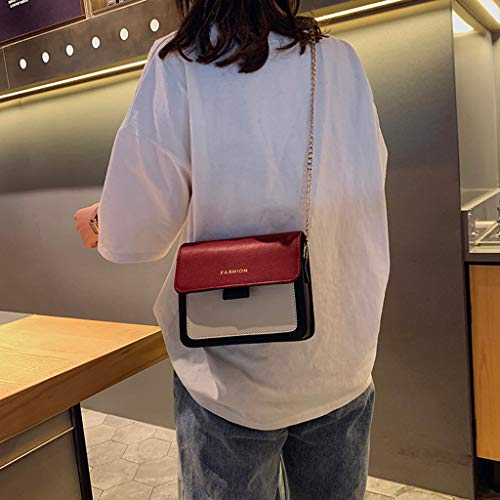 Women Fashion Cross Body Shoulder Bag Purse Rivet Chain Bag PU Leather Colorblock Message Handbags