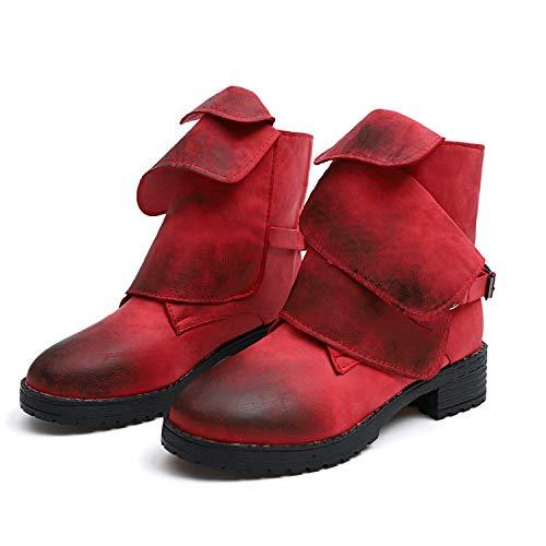 di grandi Bottone Bottone Shoes Vintage Colore ZHRUI Slip Rosso EU Knight Dimensione 38 Ankle on dimensioni Giallo EAw5HnWWq