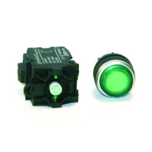 SW-2837-315, Momentary, 120VAC Illuminated Green Push button switch, Extended - Illuminated Button Green Push
