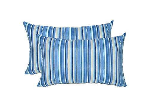 Set of 2 - Indoor / Outdoor Rectangle / Lumbar Decorative Throw / Toss Pillows ~ Sapphire Blue, Tan, White Stripe by Resort Spa Home Decor