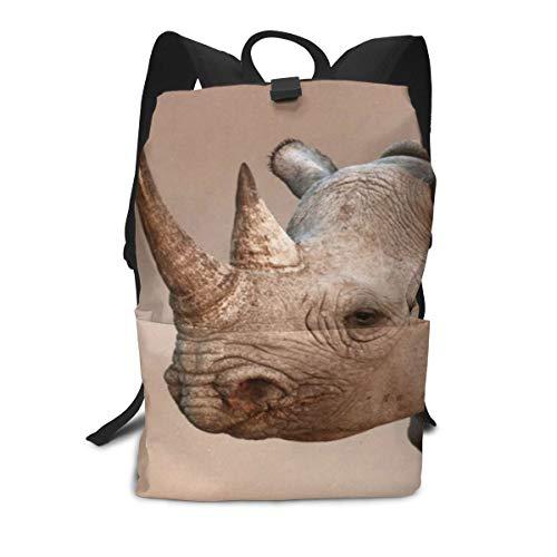 Backpack Black Rhinoceros Portrait Lightweight Daypack Shoulders Bag for Adults
