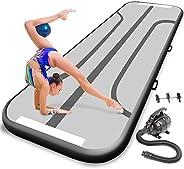 Serene Life Gymnastics Inflatable Air Tumbling Mat - 9.8ft Outdoor/Home Indoor Gymnastics Mat Air Track Tumbli
