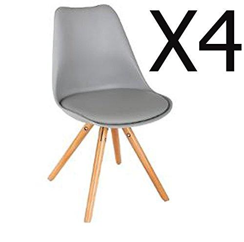 PEGANE Lot de 4 chaises L. coloris Gris - Dim : L. chaises 54 x l. 48 x H. 81 cm -PEGANE- 59f898