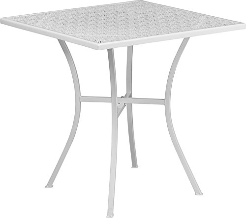 SuperDiscountMall Premium Quality 28'' White Steel Patio Table CO-5-WH-GG
