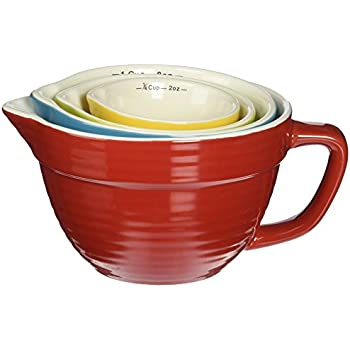 Creative Co-op Stoneware Batter-Bowl Shaped Measuring Cups, Multicolored , Set of 4