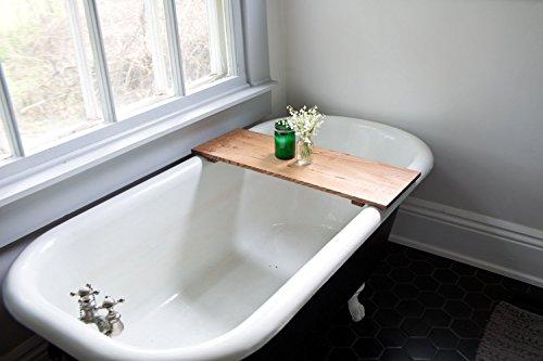 Red Oak Wood Bathtub Tray - Honey Caddy Wooden Clawfoot Standard Bath Tub Shelf Computer Desk Gaming Board Handmade by WhiskyGinger