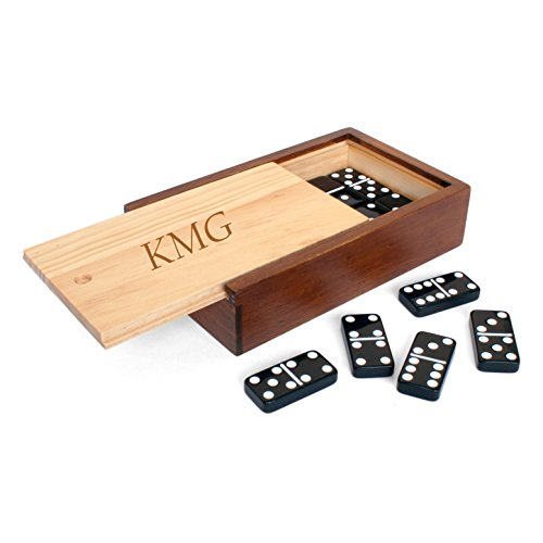 WE Games Custom Engraved Monogram Double 6 Black Dominoes with White Dots in Wooden Case