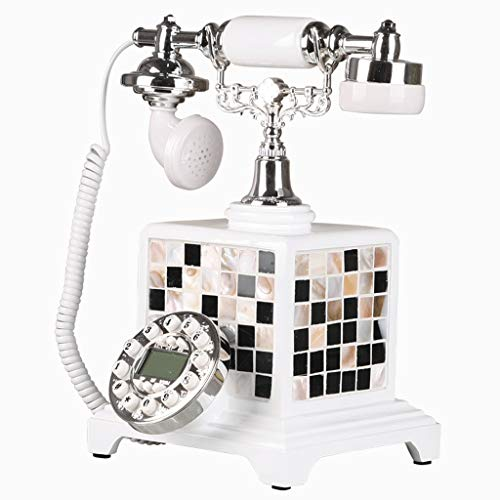White Classic Modern Nordic Simple Wind Handmade Shell Color Mosaic Retro Home Bedroom Fixed Telephone Living Room Cafe Gift Landline from HJL