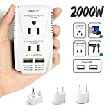 DOACE 2000W Travel Voltage Converter for Hair Dryer Straightener Flat Iron, Set Down 220V to 110V, 10A Power Adapter with 2-Port USB, EU/UK/AU/US Plug Adapters for Laptop Camera Cell Phone (White)
