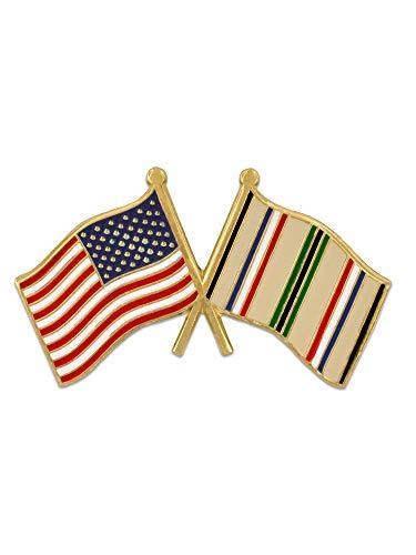 (PinMart American Flag and Desert Storm Gulf War Crossed Flag Military Lapel Pin)