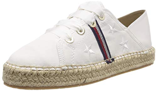 Tommy Hilfiger Women's Flat Espadrille Corporate Ribbon Weiß (Whisper White 121), 8.5 UK 7