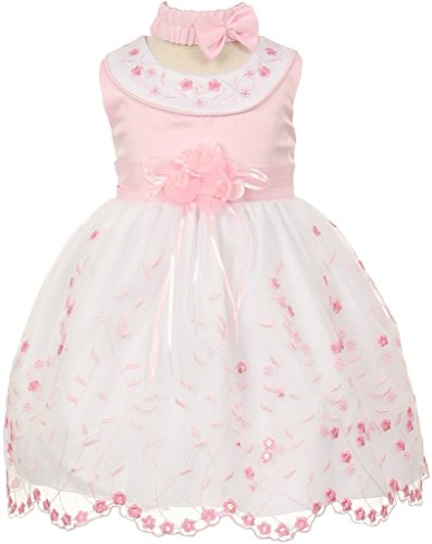 Taffeta Sash Colors Light (Flower Girl Sleeveless Rounded Neck Embroidery Baby & Infant Dress Light Pink 24M CH.555)