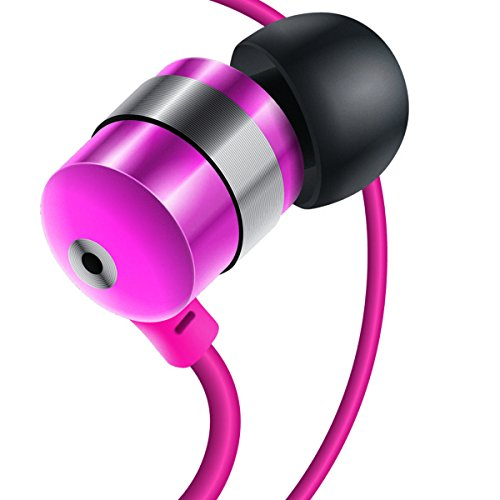 GOgroove Earbud Headphones with Deep Bass & Comfortable Ear Gel Tips (Pink) - In Ear Earphones Featuring Noise Isolating Design, Durable Alloy Driver Housing, & Ergonomic Angled Stay-In Fit
