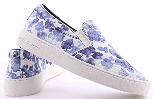 Scarpe Donna Sneakers MICHAEL KORS Keaton Slip On Blue Printed Canvas Tela Nuove