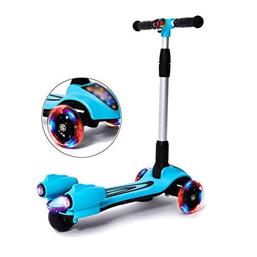 MammyGol Kick Scooters for Kids,Adjustable Handle  Folding LED Spray Jet Scooter, 3 wheeled, 110lb Weight Limit, age 3-8 (Blue)