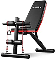 トレーニングベンチ 腹筋 ウェイトトレーニングベンチ フォールディング フラットベンチ 折り畳み 多機能 ダンベルベンチ 腹筋 背筋 トレーニングチューブ付き 取り扱い説明書付き (黒い)
