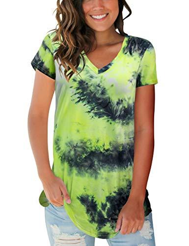 liher Womens Short Sleeve Tops V Neck Tie Dye Tee Shirts