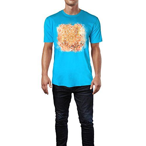 SINUS ART ® Pinkes Paisley Mandala im Ethno Stil Herren T-Shirts in Karibik blau Cooles Fun Shirt mit tollen Aufdruck