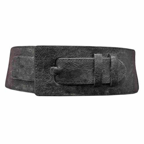 Luxury Divas Solid Black Wide Buckle Elastic Cinch Waist Belt