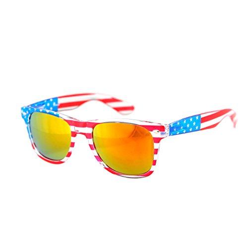 Shaderz Clear American America USA Sunglasses Frame Retro 80's Golden Lenses -
