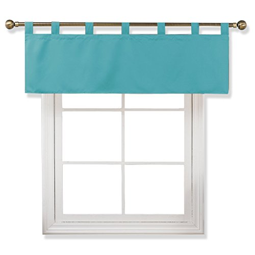 in Blackout Valance Tier, 52-inch by 18-inch Tab Top Valance Window Curtain (Turquoise, Sigle Piece) ()