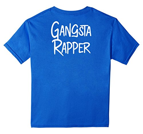 Rapper Girl Costume (Kids Gangsta Rapper Shirt Back Print Gangster Rap Music Thug Gift 12 Royal Blue)