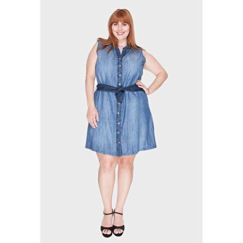 Vestido Mali Simons Bordado Plus Size Azul-52
