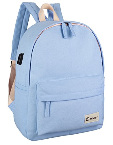 Veenajo Canvas Classic Backpack for School Travel Daypack Laptop Backpack with USB Charging Port (Blue)
