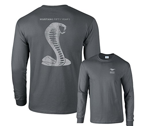 Fair Game Ford Mustang 50 Years Cobra Long Sleeve T-Shirt-Charcoal-Large