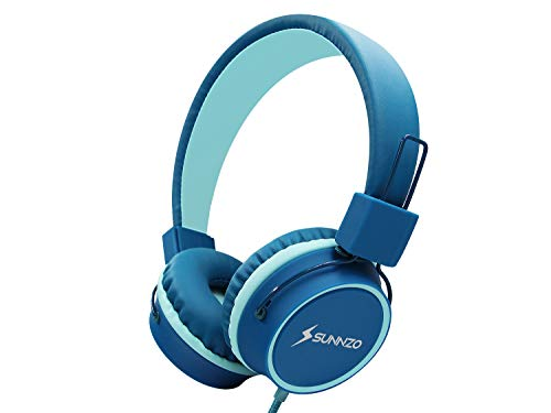 SUNNZO Kids Headphones with 85dB Volume Limited Hearing Protection,Made of Food Grade Material,BPA-Free,Tangle-Free Cord, Wired On-Ear Headphones for Children,Toddler,Baby (Model 2,Dark Blue)
