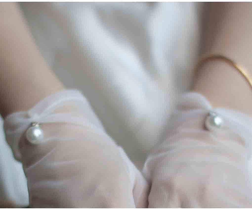 Olbye Bridal Wedding Gloves Full Fingers White Bridal Gloves For Bride and Bridesmaids Pearl Sheer Tulle Short Gloves Proms Costume Occasion Gloves
