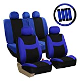 FH Group FB030BLUEBLACK-COMBO Seat Cover Combo Set with Steering Wheel Cover and Seat Belt Pad (Airbag Compatible and Split Bench Blue Black)