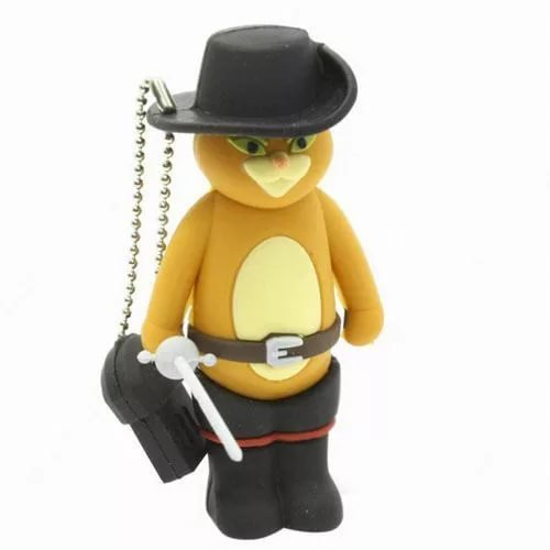 Pen Usb From Drive Boot (USB Flash Drive Party Gifts for Kids Cartoon Puss in Boots with Keychain Cute Animal 8GB 16GB (8Gb))