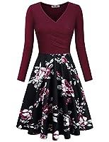 KASCLINO Women's Floral Printed Dress, A Line Long Sleeve V-Neck Elegant Dress Pockets