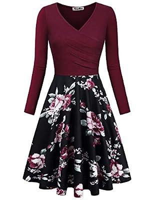 KASCLINO Women's Floral Printed Dress, A Line Long Sleeve V-Neck Elegant Dress with Pockets