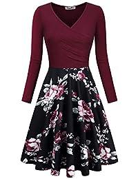 Women's Floral Printed Dress, A Line Long Sleeve V-Neck Elegant Dress with Pockets