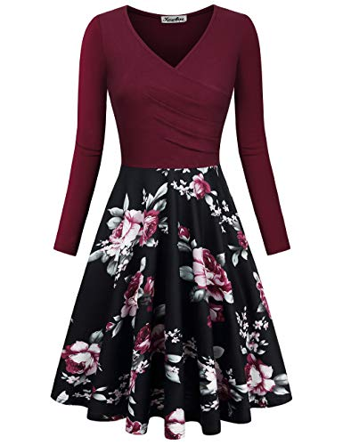 KASCLINO-Womens-Floral-Printed-Dress-A-Line-Long-Sleeve-V-Neck-Elegant-Dress-with-Pockets
